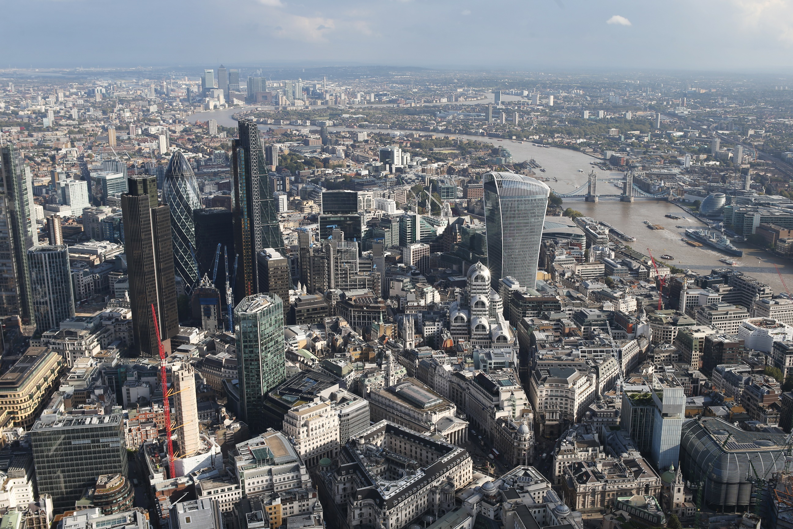 a view of london city skyline from a helicopter