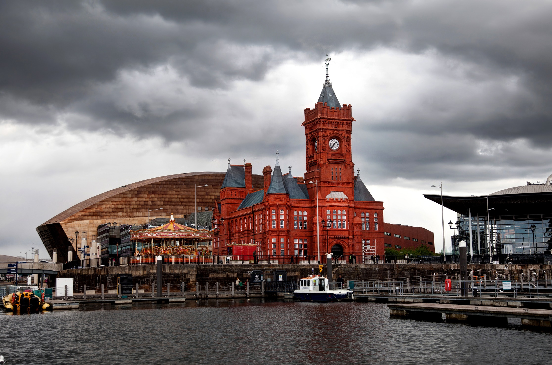 Views around Cardiff Bay and the Millennium Waterfront and the Roald Dahl Plass South Wales UK