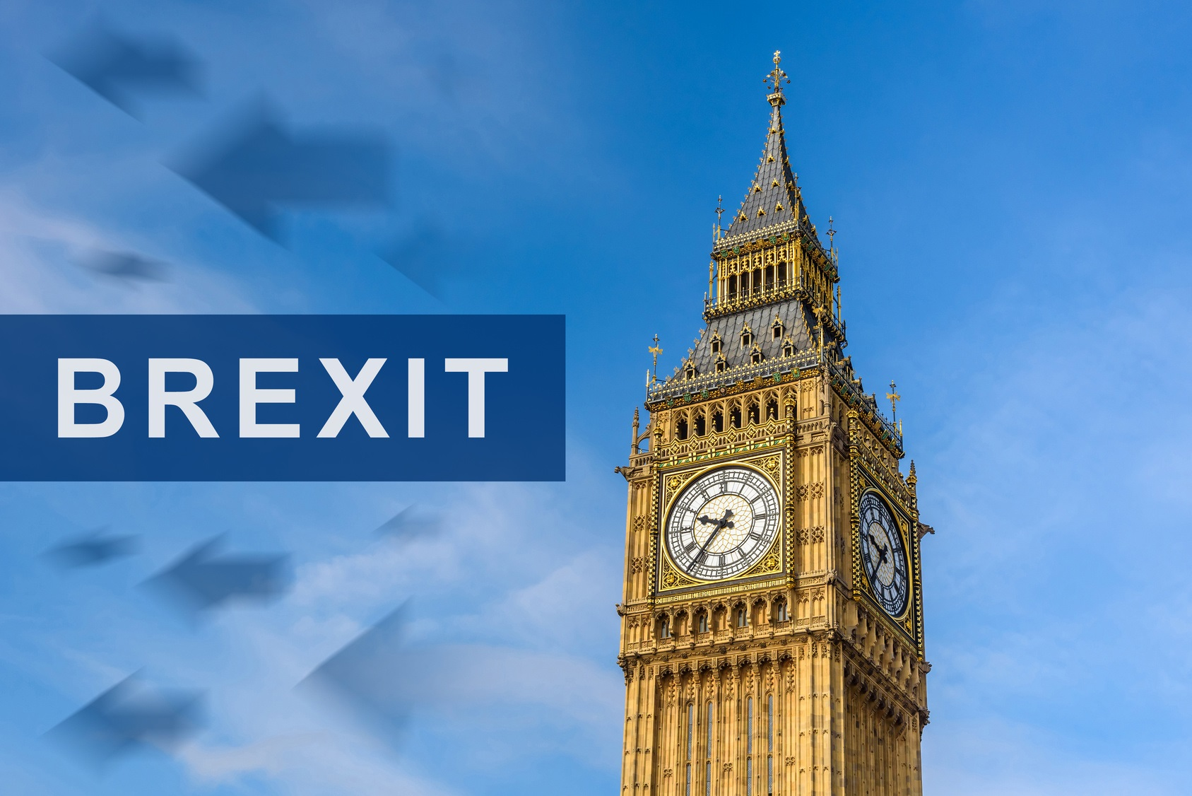 brexit or british exit with Big Ben Clock Tower, London, England, UK