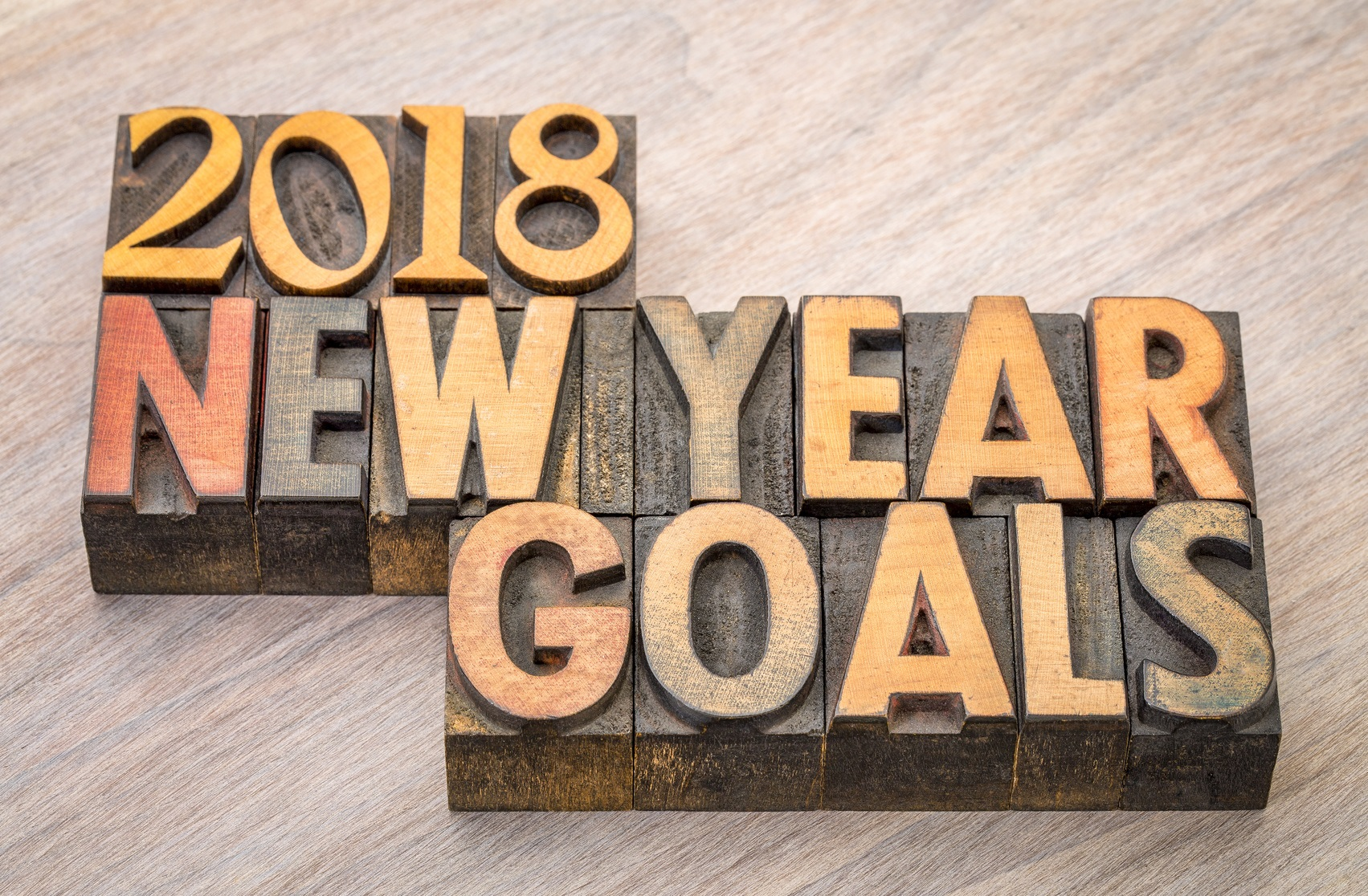 2018 New Year goals  word abstract in vintage letterpress wood type