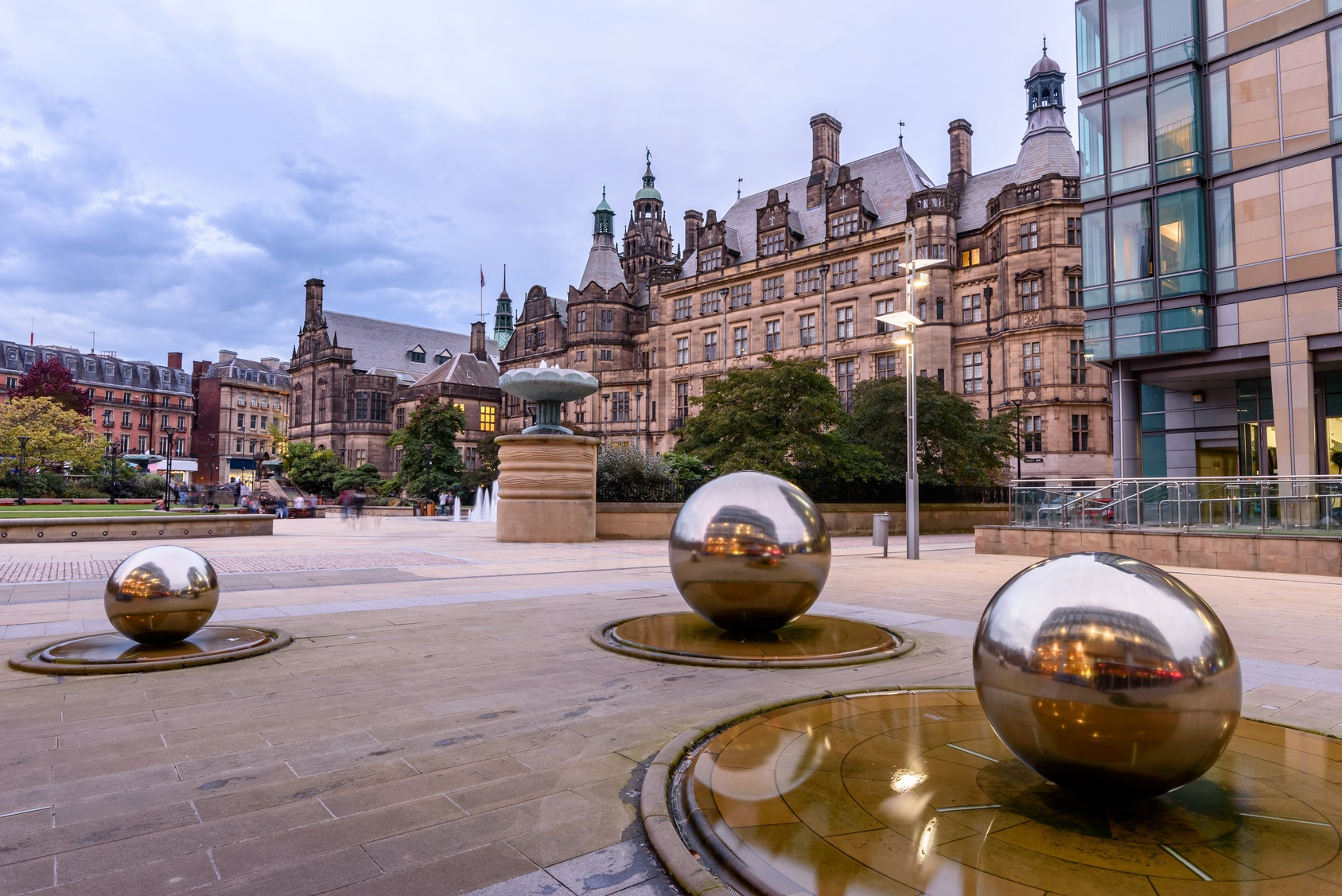 Millennium Square is a modern city square in Sheffield, England